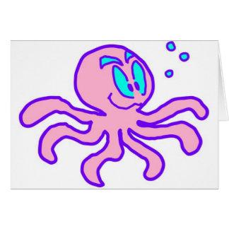 Cute Cartoon Octopus Aquatic Animal Funny Card