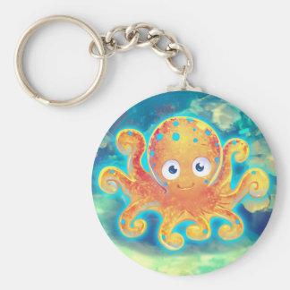 Cute Cartoon Octopus Basic Round Button Keychain