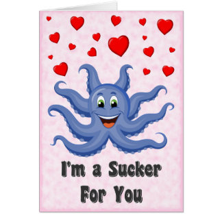 Cute Cartoon Octopus Hearts Funny Valentines Day Card