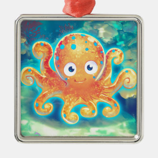Cute Cartoon Octopus Metal Ornament