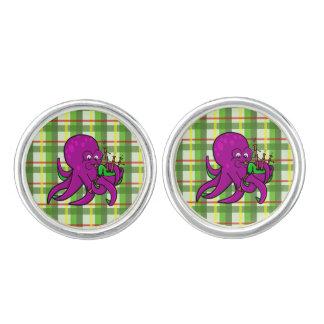 Cute Cartoon Octopus Playing Bagpipes Cufflinks