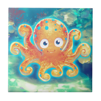 Cute Cartoon Octopus Tile