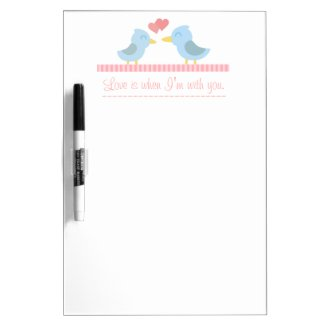 Cute cartoon of a pair of blue birds in love Dry-Erase board