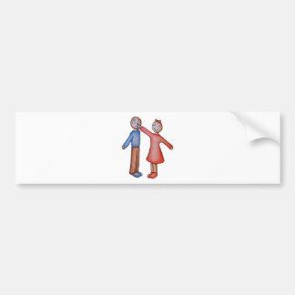 Cute Cartoon of Girl Picking Boys Nose Bumper Sticker