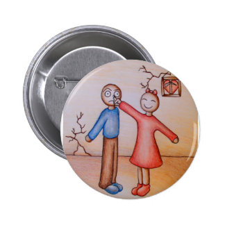 Cute Cartoon of Girl Picking Boys Nose 2 Inch Round Button