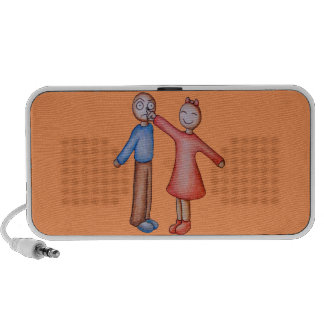 Cute Cartoon of Girl Picking Boys Nose Portable Speakers