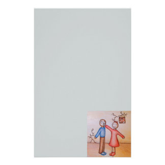 Cute Cartoon of Girl Picking Boys Nose Stationery