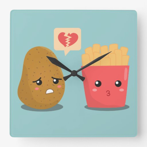 cute cartoon of potato and fries for kitchen square wall