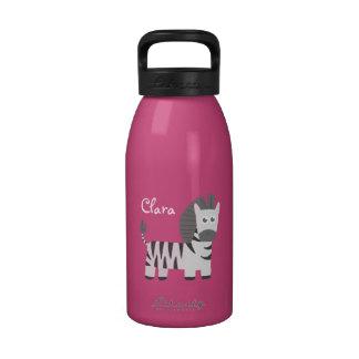 Cute cartoon of smiling zebra reusable water bottles