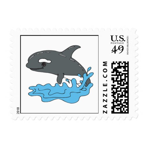 cute cartoon orca killer whale stamp