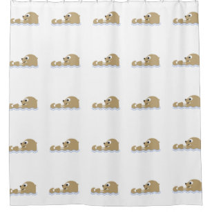 Cute Cartoon Otter Shower Curtain