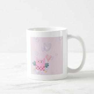 Cute Cartoon Owl and hearts Coffee Mug