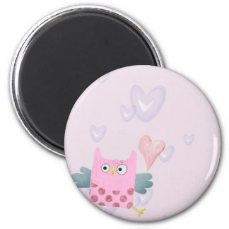 Cute Cartoon Owl and hearts Magnet