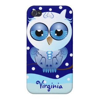 Cute cartoon Owl and polka dots Snow iPhone 4 Cover