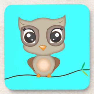 Cute Cartoon Owl Beverage Coaster