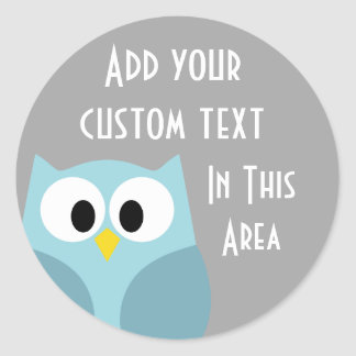 Cute Cartoon Owl - Blue and Gray Custom Name Classic Round Sticker