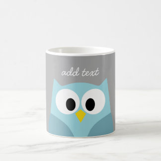 Cute Cartoon Owl - Blue and Gray Custom Name Coffee Mug