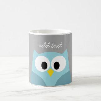 Cute Cartoon Owl - Blue and Gray Custom Name Coffee Mug