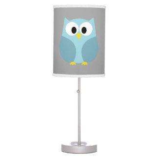 Cute Cartoon Owl - Blue and Gray Custom Name Desk Lamp