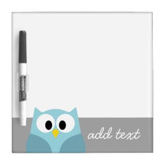 Cute Cartoon Owl - Blue and Gray Custom Name Dry-Erase Board