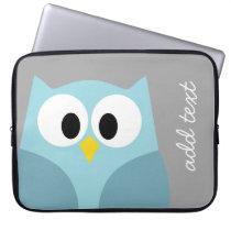 Cute Cartoon Owl - Blue and Gray Custom Name Laptop Sleeve