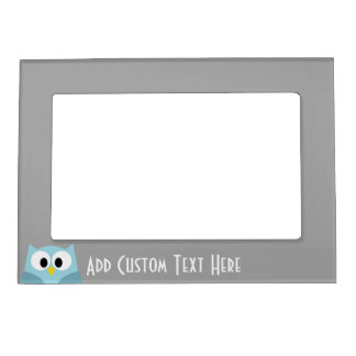 Cute Cartoon Owl - Blue and Gray Custom Name Magnetic Picture Frame
