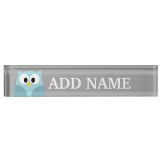 Cute Cartoon Owl - Blue and Gray Custom Name Desk Nameplates
