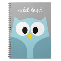 Cute Cartoon Owl - Blue and Gray Custom Name Notebook