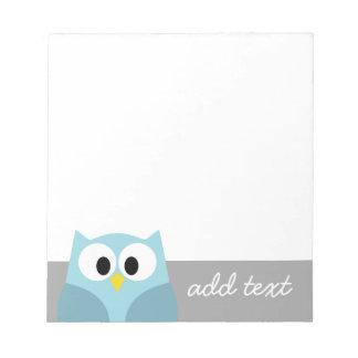 Cute Cartoon Owl - Blue and Gray Custom Name Note Pad