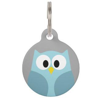 Cute Cartoon Owl - Blue and Gray Custom Name Pet Name Tag
