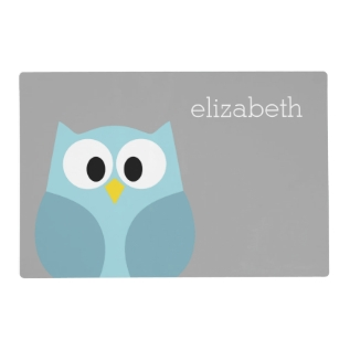 Cute Cartoon Owl - Blue And Gray Custom Name Placemat at Zazzle