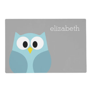 Cute Cartoon Owl - Blue and Gray Custom Name Placemat