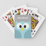 "Cute Cartoon Owl - Blue and Gray Custom Name Playing Cards<br><div class=""desc"">A modern and simple owl with trendy colors. You can add a name,  monogram or other custom text. If you need to move the art around,  click on the customize button to make changes.</div>"