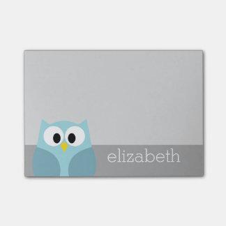 Cute Cartoon Owl - Blue and Gray Custom Name Post-it Notes