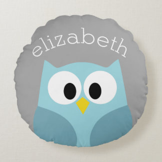 Cute Cartoon Owl - Blue and Gray Custom Name Round Pillow