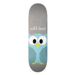 Cute Cartoon Owl - Blue and Gray Custom Name Skateboard