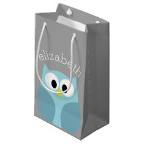 Cute Cartoon Owl - Blue and Gray Custom Name Small Gift Bag