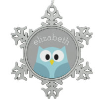 Cute Cartoon Owl - Blue and Gray Custom Name Snowflake Pewter Christmas Ornament