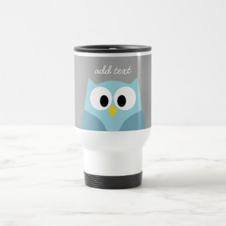 Cute Cartoon Owl - Blue and Gray Custom Name Travel Mug