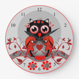 Cute cartoon Owl clock in red, black and grey