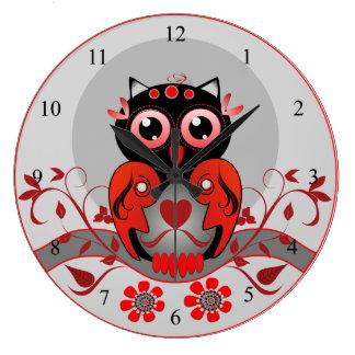 Cute cartoon Owl clock in red, black and grey