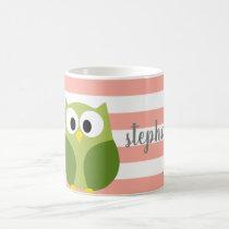 Cute Cartoon Owl - Coral & Green Name Calligraphy Coffee Mug