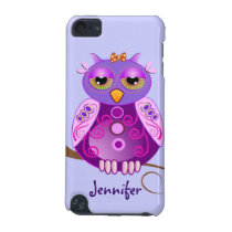 Cute Cartoon Owl & custom Name iPod touch case
