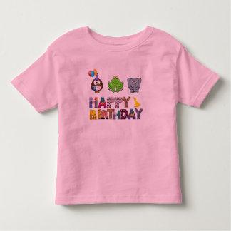Cute Cartoon Owl Frog Elephant Happy Birthday Toddler T-shirt