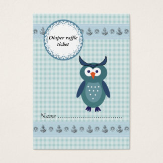 Cute cartoon owl gingham boy diaper raffle ticket