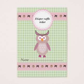 Cute cartoon owl gingham diaper raffle ticket
