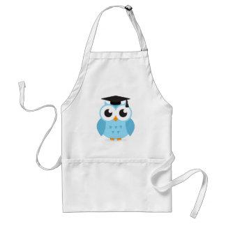 Cute cartoon owl graduate with mortarboard apron