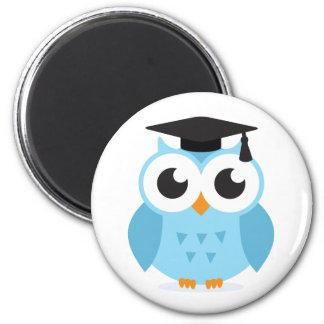 Cute cartoon owl graduate with mortarboard fridge magnets