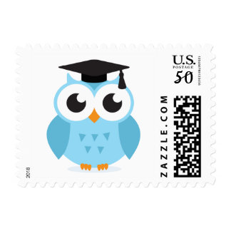 Cute cartoon owl graduate with mortarboard postage