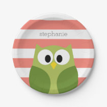 Cute Cartoon Owl - Green and Coral with Stripes Paper Plate